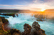 Godafoss at sunset, Iceland, amazing waterfall - 75834125