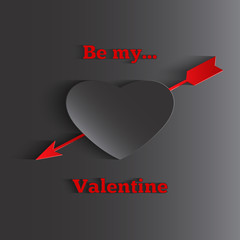 Be My Valentines text, greeting cards with heart and arrow