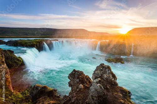 Poster Watervallen Godafoss at sunset, Iceland, amazing waterfall