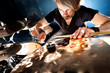 Man playing the drum.Live music background concept.Drummer - 75834392