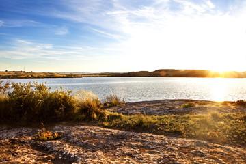Sunset landscape and lake.