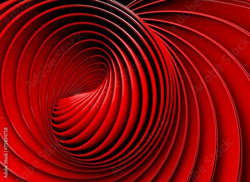 Fondo abstracto 3d.Espiral o remolino en tono rojo
