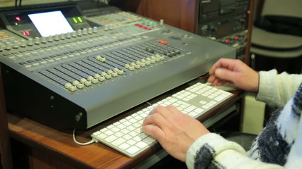 Sound engineer jobs, in the frame mixing console, keyboard and h