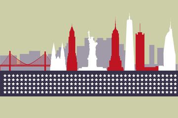 Modern silhouette skyline of New York.