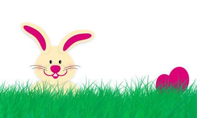Osterwiese mit Hase und Eiern