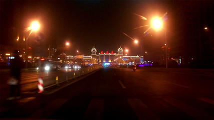 Driving towards Beijing Railway Station at night  in Beijing,