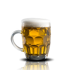 Glass of Cold Beer on White Background