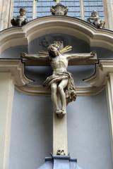 Crucifixion, facade of Minoriten kirche in Vienna, Austria