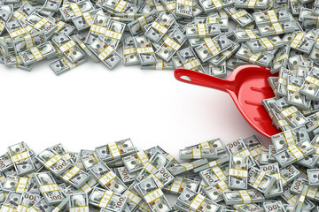Financial money concept. Scoop and packs of dollars. Space for t