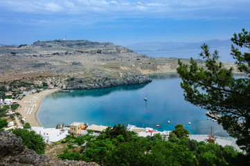 St. Paul bay blue lagoon in Lindos
