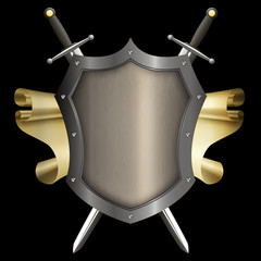 Silver riveted shield with gold scroll and two swords.