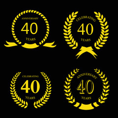 forty years anniversary laurel gold wreath set