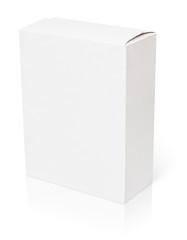 Blank cardboard box isolated on white background