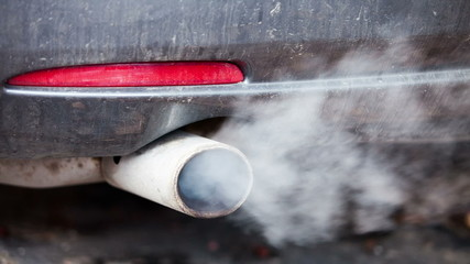 Exhaust pipes of a vehicle. RAW quality video