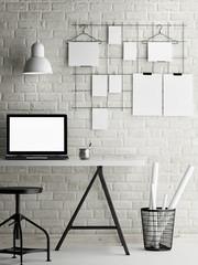 Mock up office, loft background