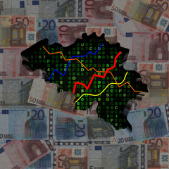 Belgium map with hex code and graphs on euros illustration