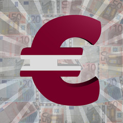 Euro symbol with Latvian flag on Euro currency illustration