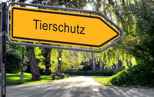 canvas print picture Strassenschild 25 - Tierschutz
