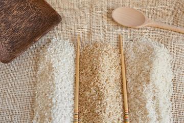 Uncooked Minerbe, Ribe and Basmati rice