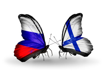 Two butterflies with flags Russia and Finland