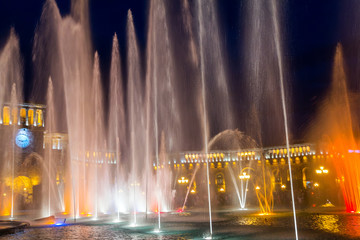 Color-musical fountains in the central Republic Square