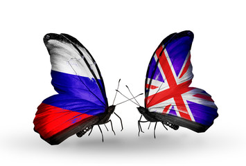 Two butterflies with flags Russia and UK