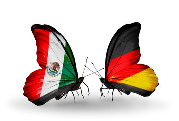 Two butterflies with flags Mexico and Germany