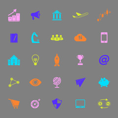 Startup business color icons on gray background