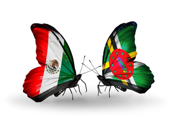 Two butterflies with flags Mexico and Dominica