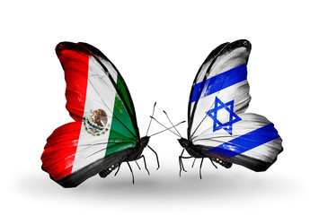Two butterflies with flags Mexico and Israel