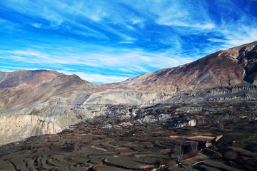 Traditional Tibetan village in Mustang distict, Annapurna conser
