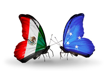 Two butterflies with flags Mexico and  Micronesia