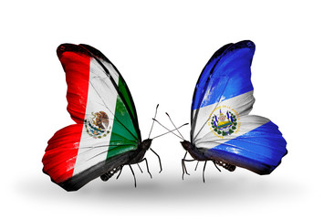 Two butterflies with flags Mexico and Salvador