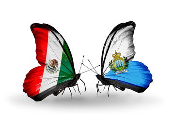 Two butterflies with flags Mexico and San Marino
