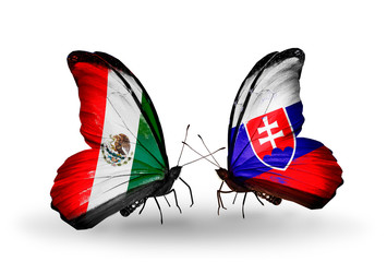 Two butterflies with flags Mexico and Slovakia