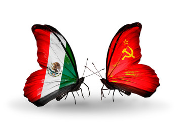 Two butterflies with flags Mexico and Soviet Union