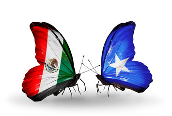 Two butterflies with flags Mexico and Somalia