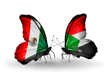 Two butterflies with flags Mexico and Sudan