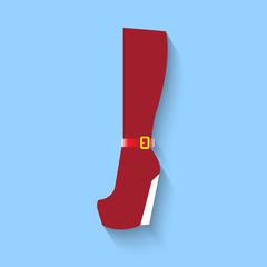 woman boots web flat icon