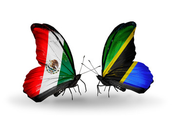 Two butterflies with flags Mexico and Tanzania