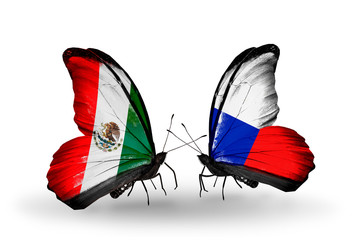 Two butterflies with flags Mexico and Czech