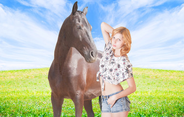 Girl and horse on the meadow