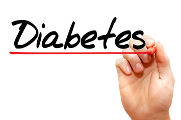 Hand writing Diabetes with marker, concept