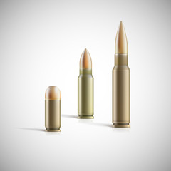 Rifle and pistol bullets isolated on white background