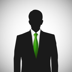 Unknown person silhouette whith green tie