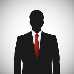 Unknown person silhouette whith red tie