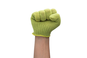 Closeup of right male hand - raised up clenched fist, isolated o