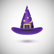 Purple witch hat for Halloween. - 75841924