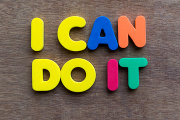 i can do it words in wood background