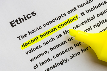 Ethics word definition highlighted